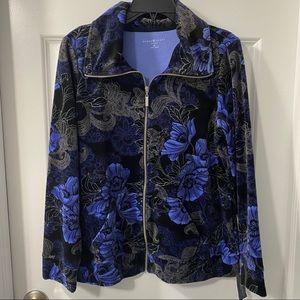 Karen Scott Sport Printed Floral Velour Jacket